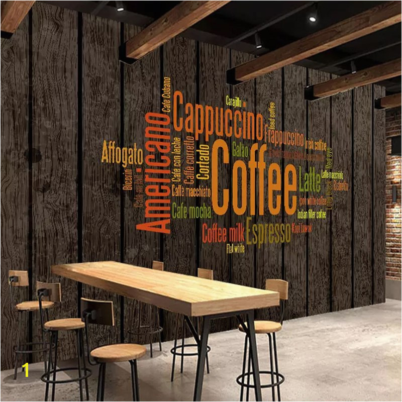 Vintage Wallpaper 3D Retro Coffee Letters Wall Murals Restaurant Cafe KTV Bar Background Wall Painting Papel De Parede 3 D in Wallpapers from Home