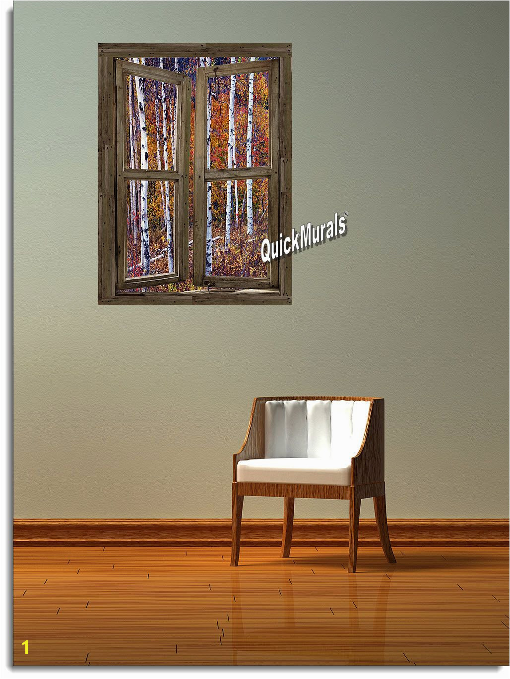 Wilderness Cabin Window Peel & Stick 1 piece Canvas Wall Mural