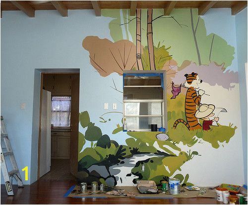 "Calvin and Hobbes Mural by How Brown Met Blue ""Freehand playroom mural donated to the Reynold s Home a shelter for women and children"