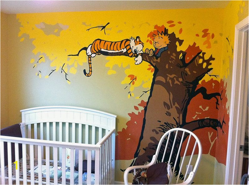 Calvin and Hobbes Nursery Mural Calvin and Hobbes theme Haha I Don T Really Want This but Knew