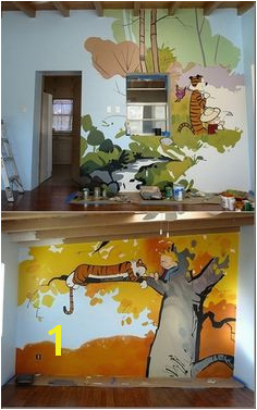 Calvin and Hobbes Room I d love to do this for a kid s room Either something different on each wall or one long continuous scene