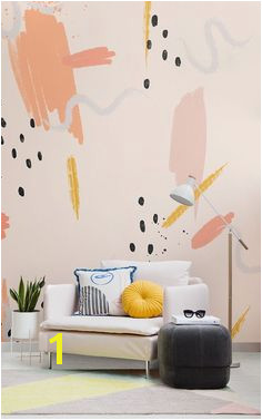 Peach Paint Brush Stroke Wallpaper Mural