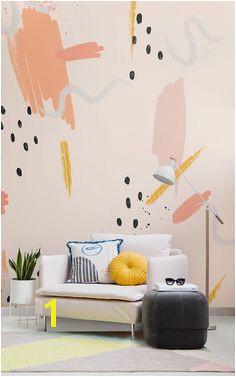 Peach Paint Brush Stroke Wallpaper Mural