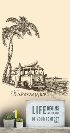 Surfs Up Camper van and surfboard man cave wallpaper mural