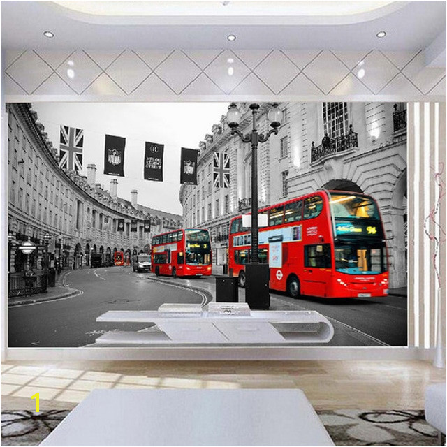 Europe Wall Paper London Street Red Bus Wallpaper Mural Stickers 3D Living Room Bedroom Self Adhesive Vinyl Silk Wallpaper