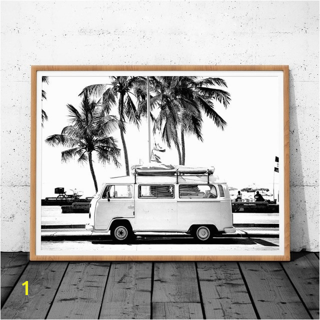 Vintage Coastal graphy Print Retro Bus Van Camper And Black Palm Tree Canvas Painting Wall Picture Coastal Art Decor