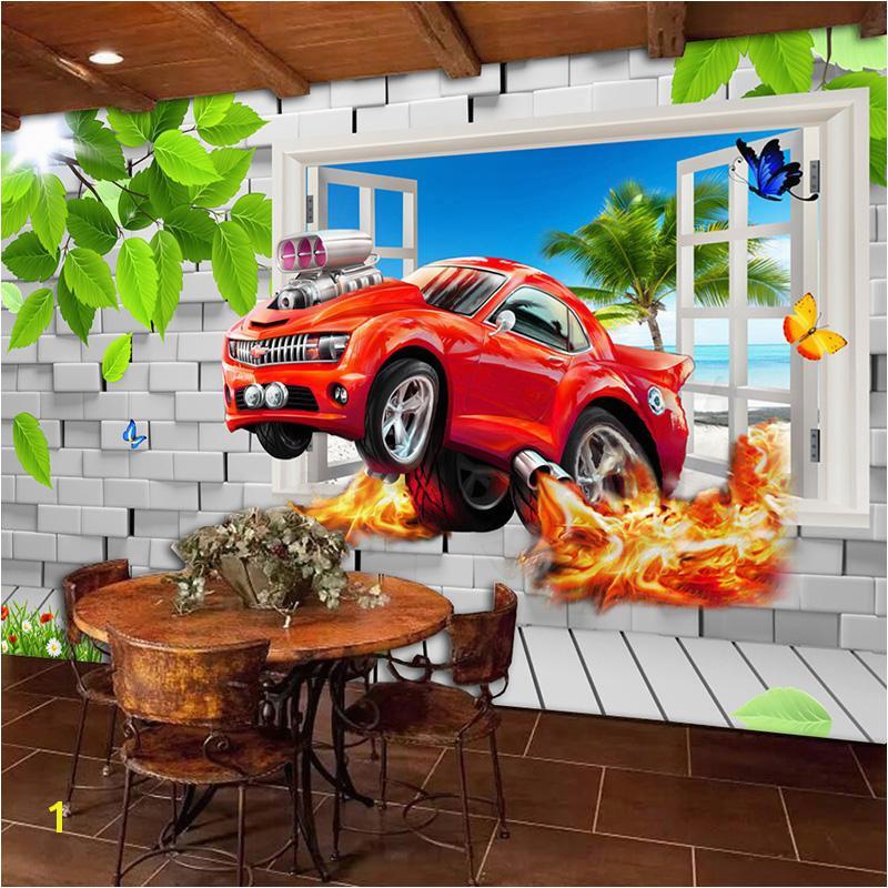 Pastoral Style Children Room Bedroom Wall Decoration Mural Wallpaper 3D Stereoscopic Window Cartoon Car Broken Wall Murals Girl Wallpaper Girl