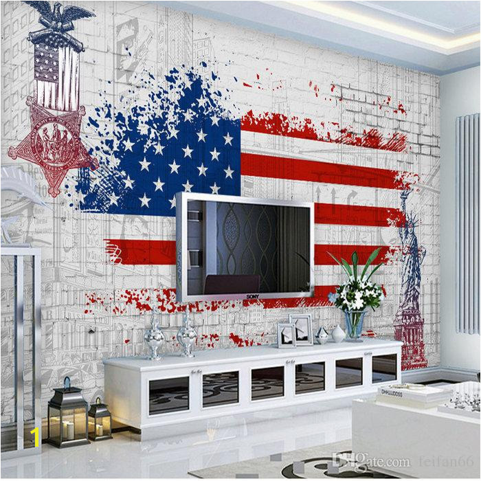Custom 3d Wallpaper Non Woven Mural American Flag Retro Car Wallpaper Painting 3d Wall Room Murals Wallpaper High Resolution Wallpapers Free Download