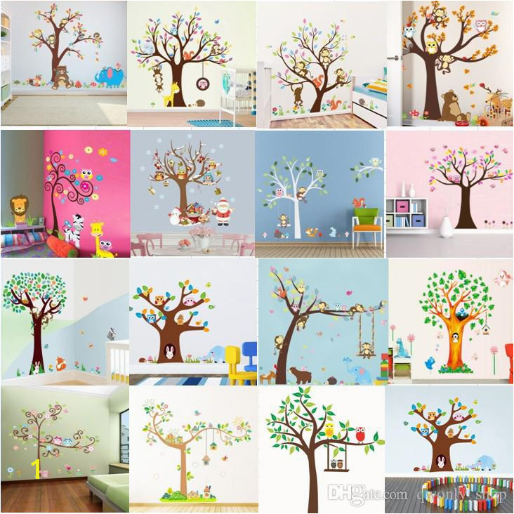 15 Styles Cartoon Forest Animals Owl Monkey Bear Elephant Tree Wall Stickers For Kids Rooms Boys Children Bedroom Wall Decals Home Décor Stickers For Wall