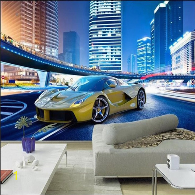 Cool Yellow Sports Car City Night Landscape 3D Wall Mural Wallpaper Modern Personality Restaurant Clubs KTV Bar Interior Decor in Wallpapers from Home