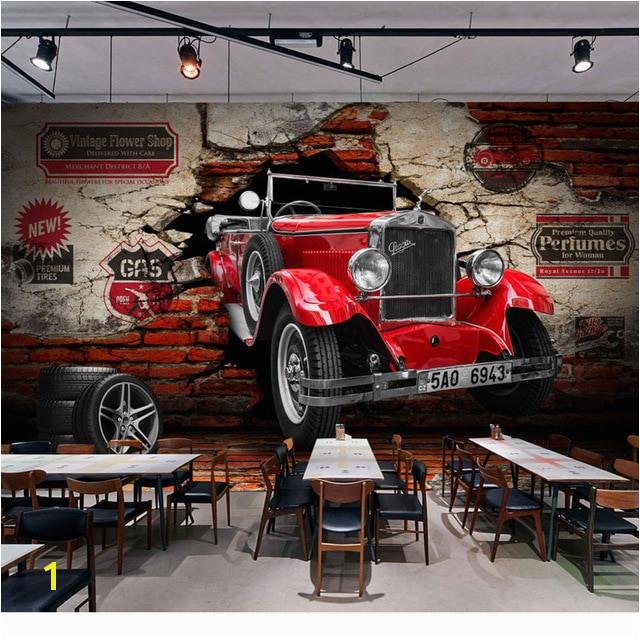 Vintage Brick Wall Paper Retro Red Car Wallpaper Mural Stickers 3D Home Cafe Bar Decor Self Adhesive Vinyl Silk Wallpaper