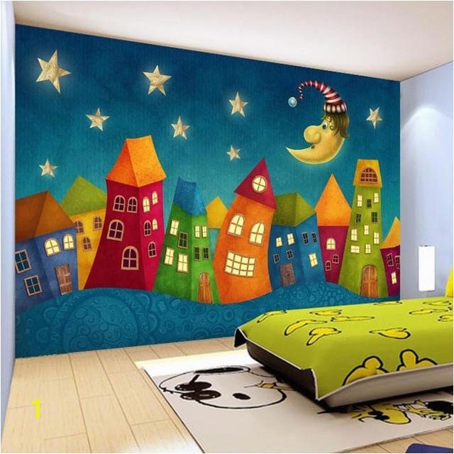 Custom Wall Paper Cartoon Children Castle 3D Wall Murals Kids Bedroom Eco Friendly Non Woven Wallpaper Murales De Pared 3D