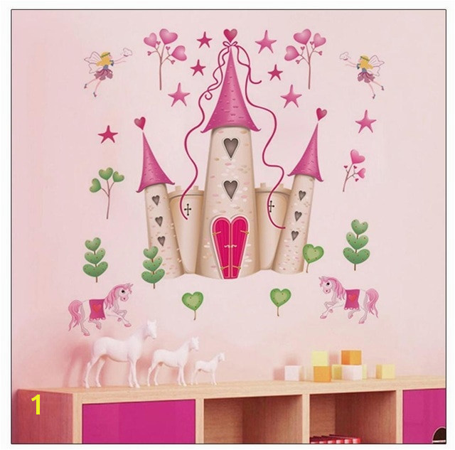 Removable Pink Princess Castle Wall Sticker Window Decal Bedroom Decor Wall Poster Baby NurserY Girls Bedroom Art
