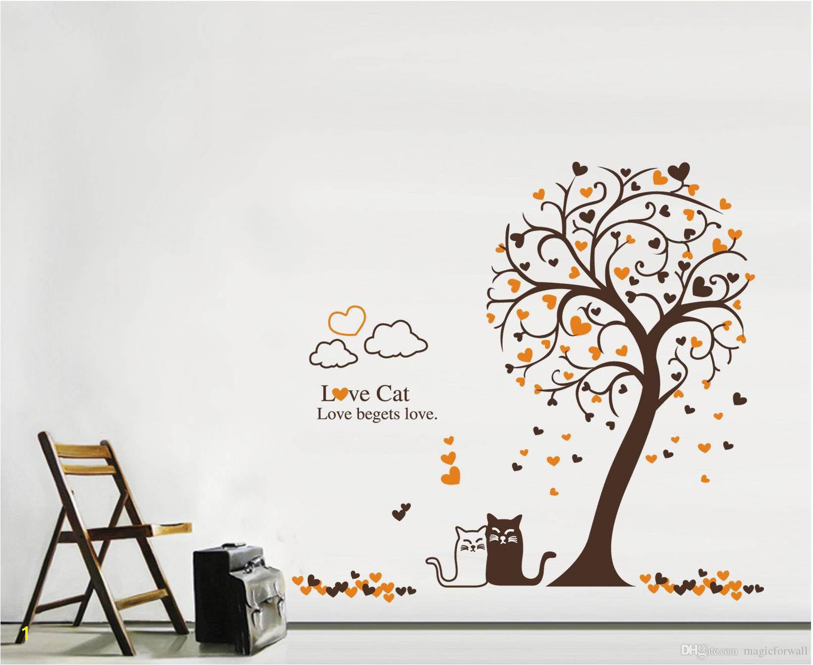 Cartoon Loving Cat Under Tree Wall Art Mural Decor Removable PVC Art Decal Living Room Sofa Background Wallpaper Decoration Mario Wall Stickers Mirror Wall