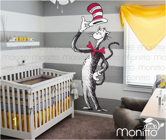 Dr Seuss Giant Cat in the Hat Children Wall Decal Nursery Decal Mural Sticker Kids Room Wall Art Decor [MT031] Seuss