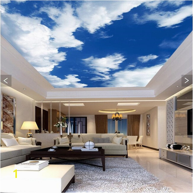 3d wallpaper mural decor backdrop Blue sky white clouds ceiling living room Restaurant ceiling wall