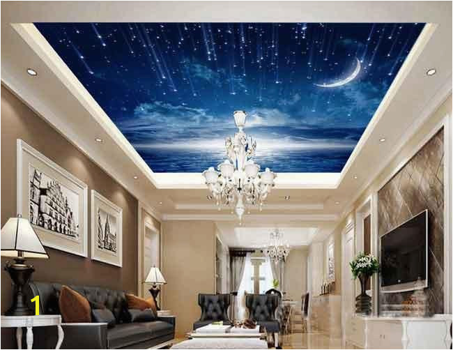 Ceiling Decals Mural Moonlit Twinkle Star Wallpaper Wall Decals Wall Art Print Business