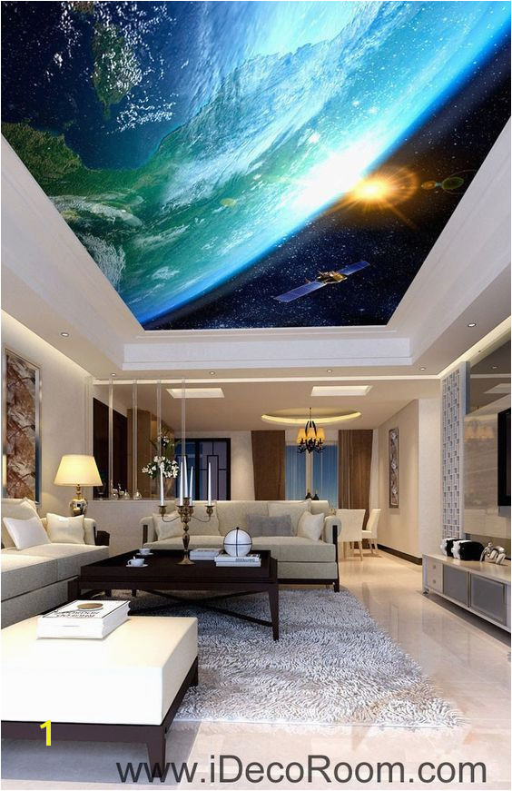 Sun Earth Ourterspace Satellite Ceiling Wall Mural Wall paper Decal Wall Art Print Decor Kids wallpaper