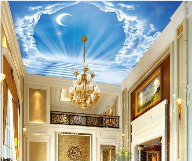 custom 3d ceiling murals Blue sky ladder of the moon modern wall mural wallpaper on the ceiling nonwoven wallpaper ceiling