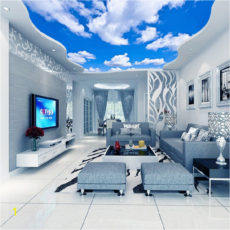 Custom Ceiling Mural Wallpaper 3D Blue Sky And White Clouds Living Room Bedroom Ceiling Background Wallpaper Wallcoverings in Wallpapers from Home