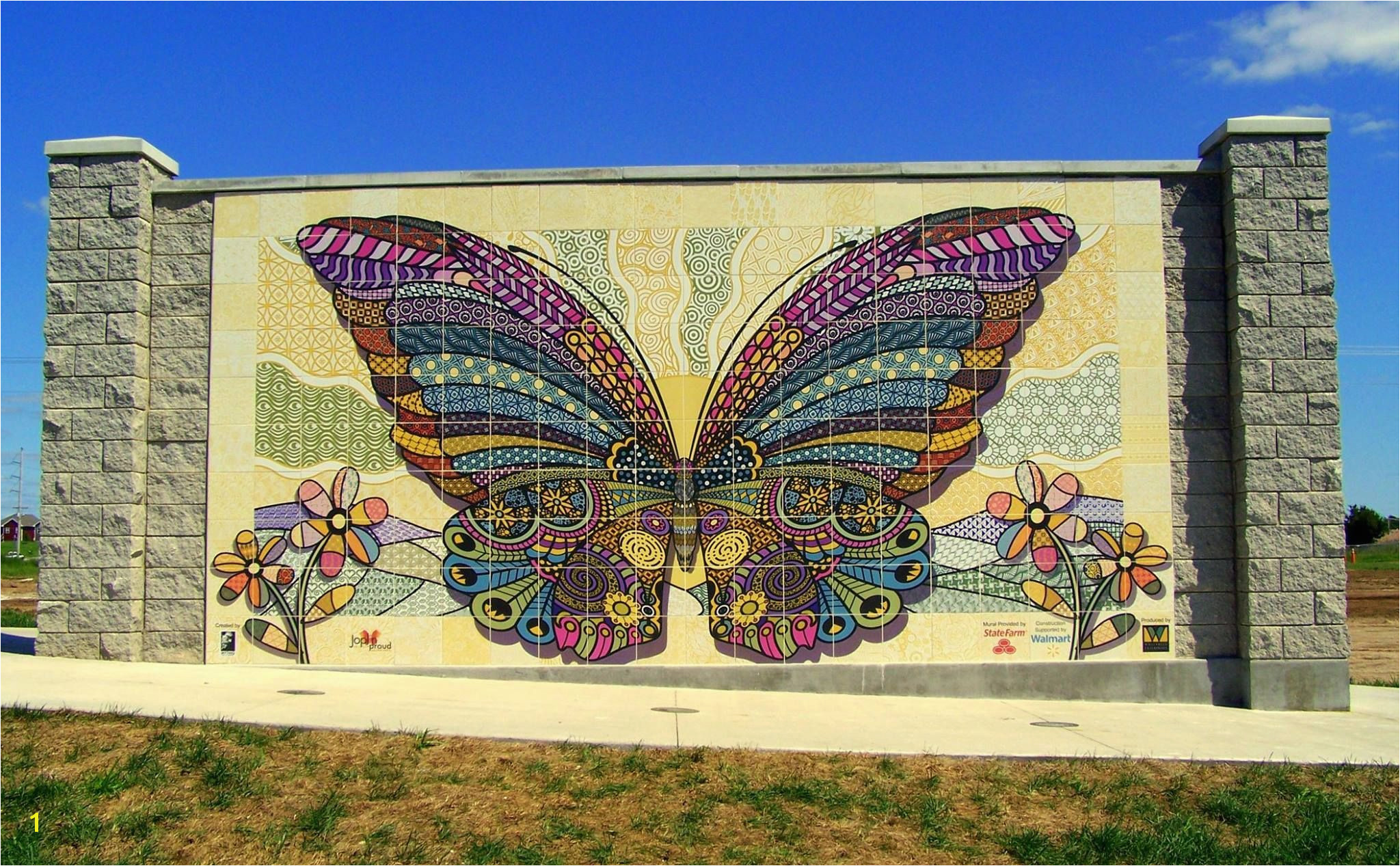 """Butterfly Mural"" made of our ceramic tiles Was dedicated to the victims of the horrific tornado that hit Joplin five years ago"