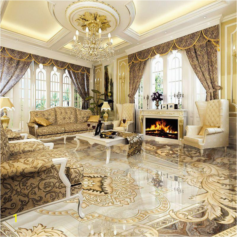 2019 European Style 3D Floor Tiles Mural Marble Wallpaper Living Room Hotel Wear Non Slip Waterproof Self Adhesive Luxury Wall Papers From Good co ltd