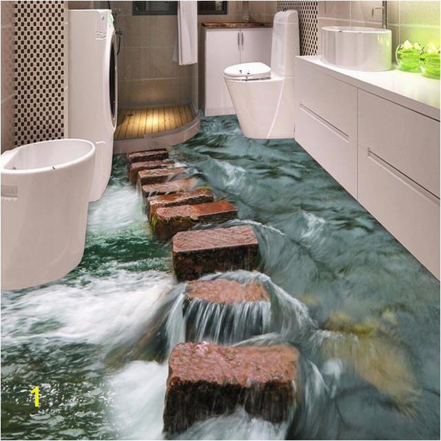 Custom 3D Floor Wallpaper Modern Art River Stones Bathroom Floor Mural Paintings PVC Self adhesive Wallpaper Waterproof Murals
