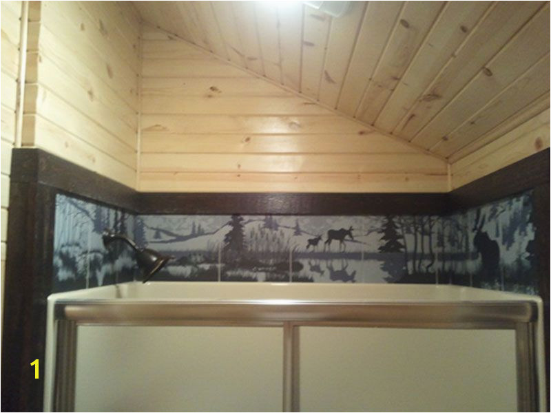 Over the shower ceramic tile wildlife wraparound Bathroom Mural Bathroom Ideas Tile Murals