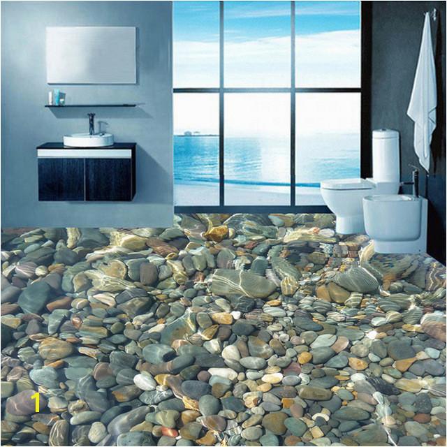 Wallpaper 3D Realistic Underwater Cobblestone Floor Tiles Murals Bathroom Living Room Self Adhesive Waterproof Vinyl Mural