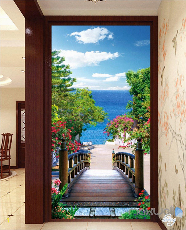 Cheap Beach Wall Murals 3d Bridge Beach Tree Corridor Entrance Wall Mural Decals Art Print