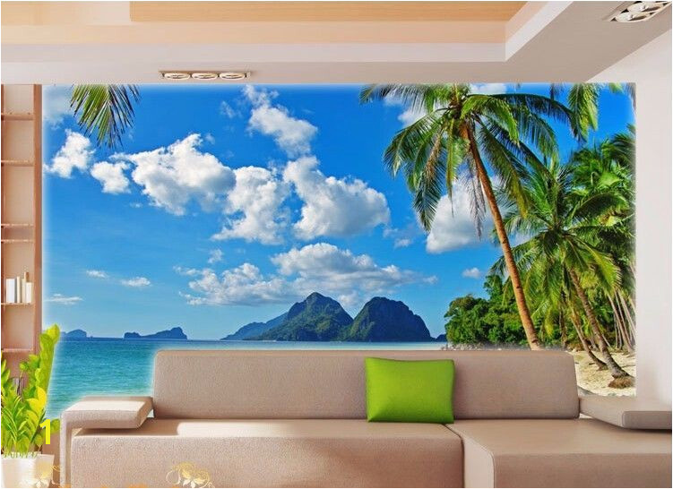 Cheap Beach Wall Murals 3d Wallpaper Bedroom Living Mural Roll Palm Beach Sea Scenery Wall
