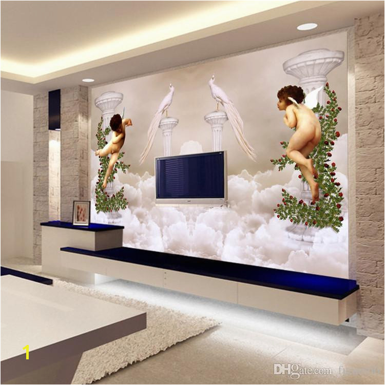 Custom Wallpaper 3D Wall Murals European Style Little Angel Heaven For Background Embossed Mural Wall Paper Canada 2019 From Fumei66
