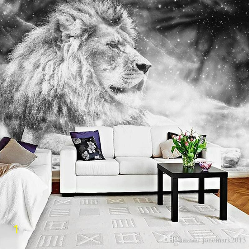 Cheap Wall Murals Canada Custom Wallpaper Mural Black and White Animal Lion Papier