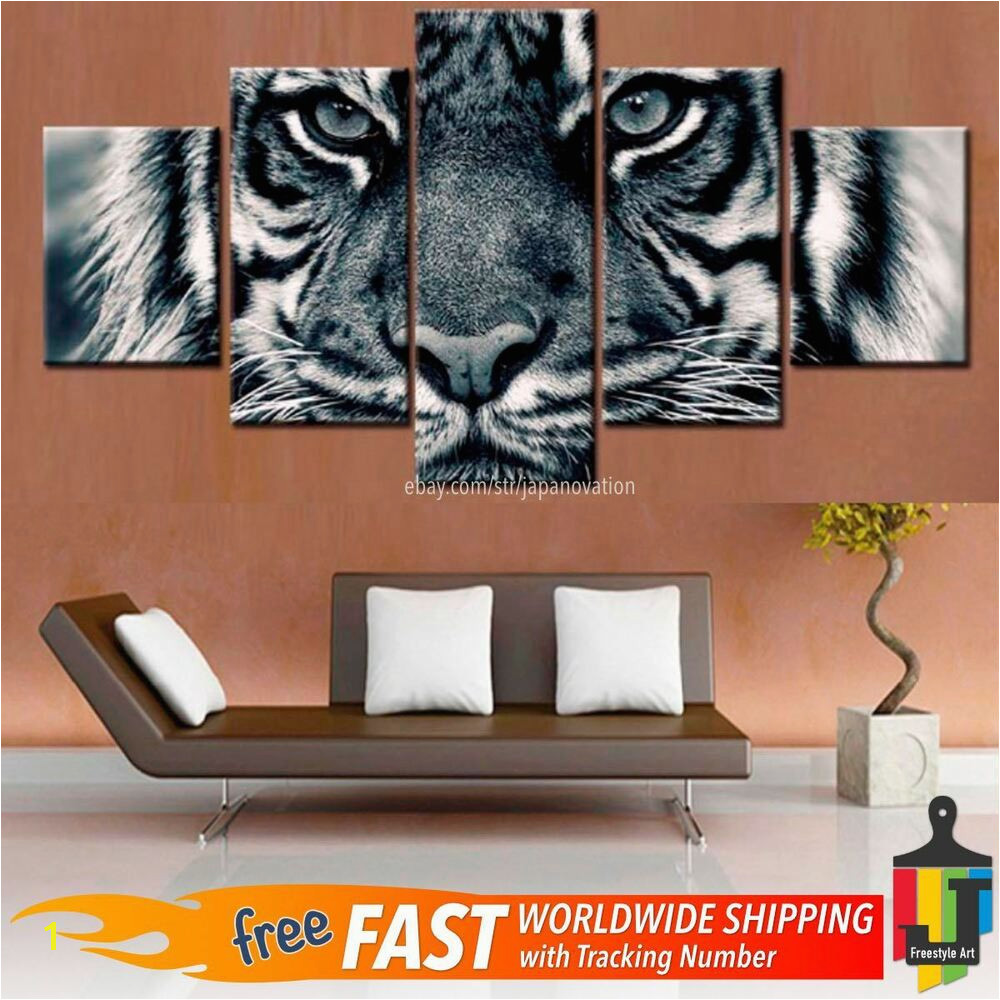 Details about 5 Piece Home Decor Canvas Print Painting Wild Animal Wall Art Tiger Leopard Eyes