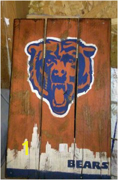 Chicago Bears pallet art distressed hand painted sign with the chicago skyline