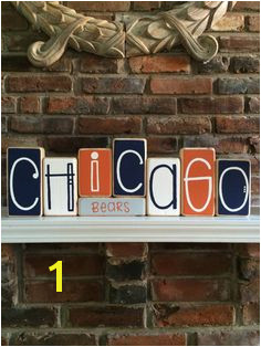 Chicago Bears Decorative Blocks by RuchalskiRustic on Etsy Bears Football Football Team Football Baby