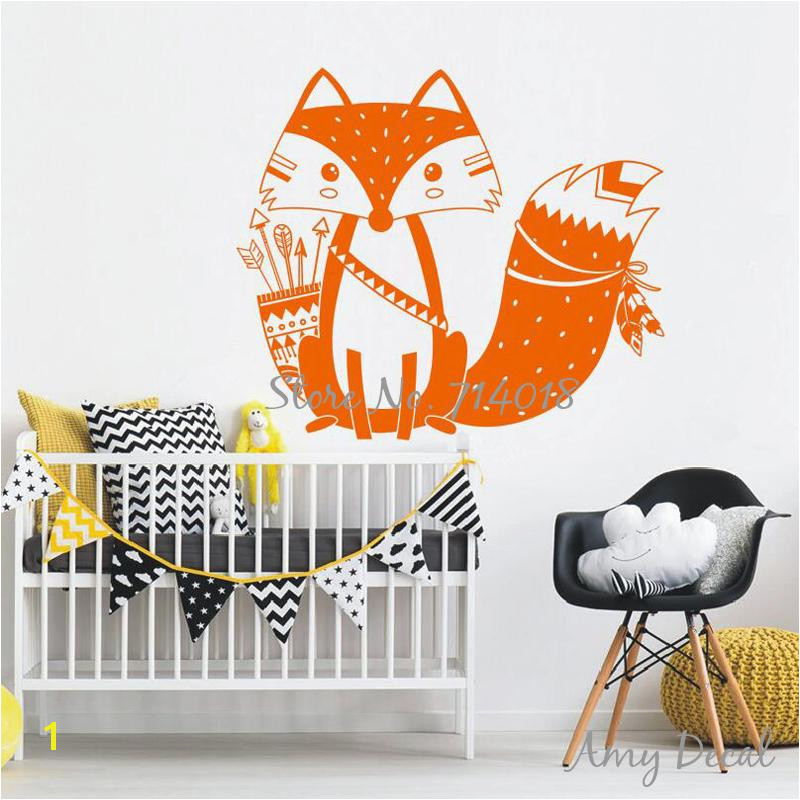 God Tribal Fox Wall Decal Cute Woodland Fox Wall Sticker For Kids Room Nursery Art Tattoo Christmas Gift Vinyl Murals A734J Decal Art Decal Art For Walls