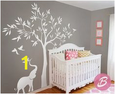 White tree wall decal Wall decal with elephant tree wall decal Wall decor for nursery and kids room Vinyl shapes decal AM014