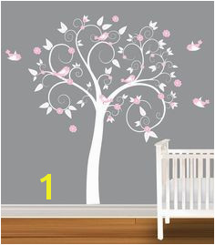 Children Wall Decal White Pink Girls Nursery Vinyl Wall Stickers Flowers Owls Curl Tree $99 99
