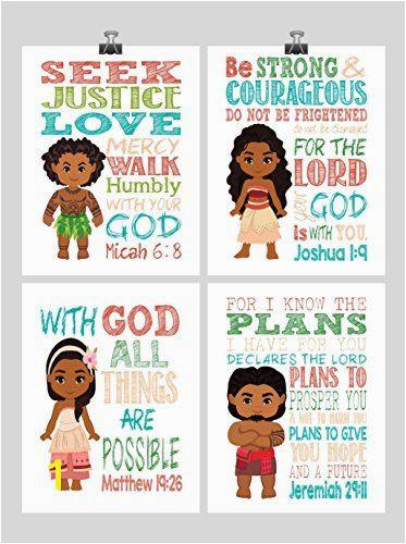 Moana Christian Nursery Decor Wall Art Set of 4 Prints Moana Tui Maui and Sina Bible Verse Multiple Sizes