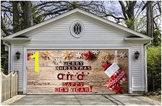 Merry Christmas Double Christmas Garage Door Cover Christmas Decorations Outdoor Holiday Decor New Year Eve Decor Christmas Murals GD35