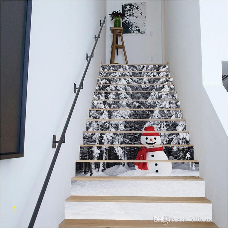 Christmas Scene Wall Murals 3d Diy Christmas Snowman Stairs Stickers Removable Waterproof