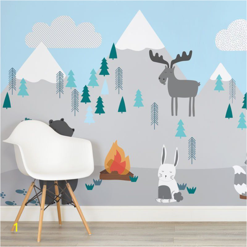 kids mountain scene square wall mural