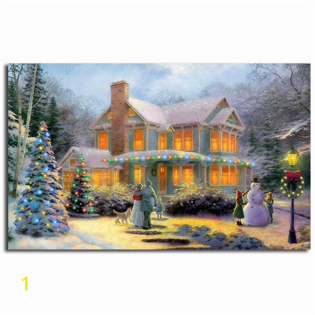 Thomas Kinkade Victorian Family Christmas Illuminated Art Canvas Poster Painting Wall Picture Print For Home Bedroom Decoration
