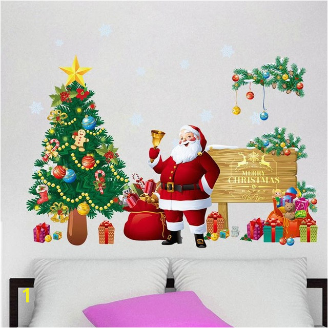Christmas Tree Wall Stickers Santa Claus Gifts Sitting Room Bedroom Decoration Mural Art Decals