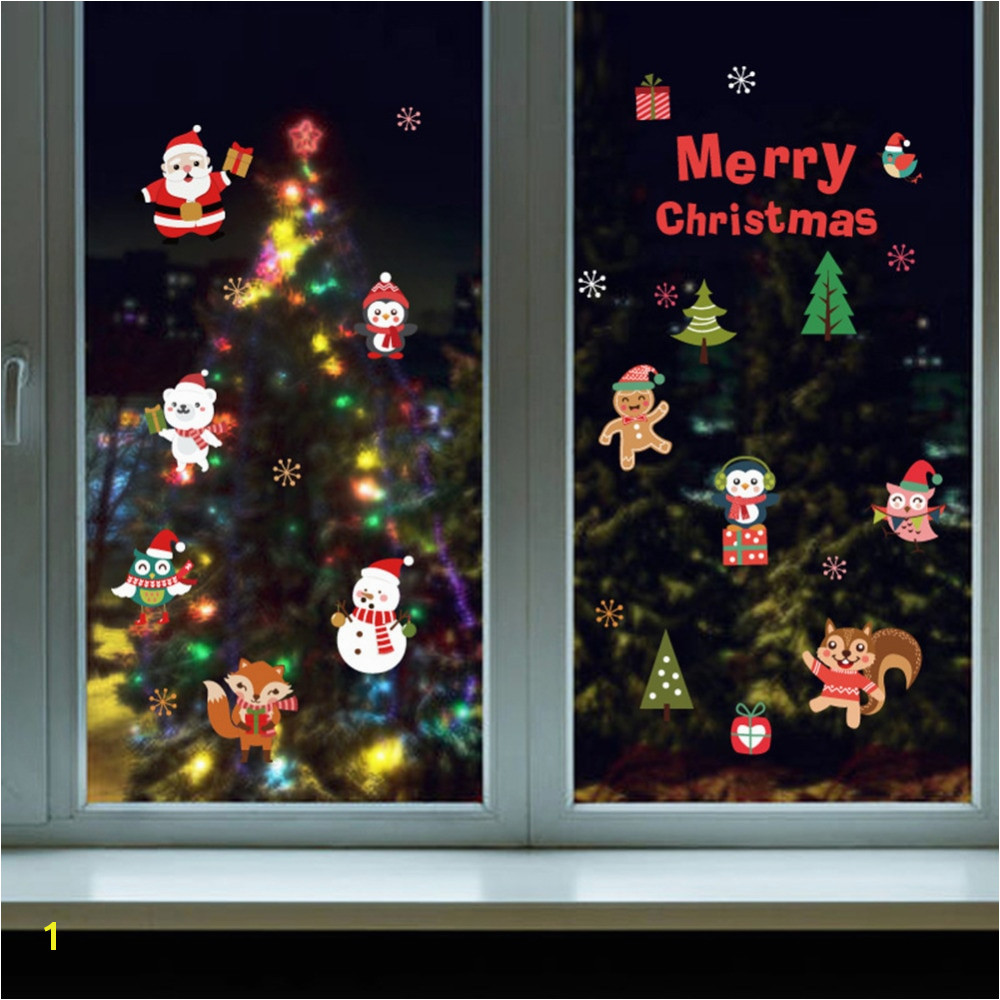 DIY White Snow Christmas Wall Stickers Window Glass Festival Decals Santa Murals New Year Christmas Decorations for Home Decor in Wall Stickers from Home