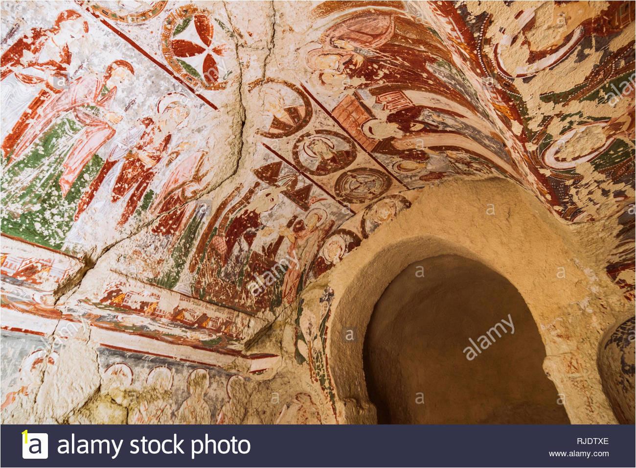 Goreme Nevsehir Province Turkey Christian murals inside a rock hewn church near Goreme