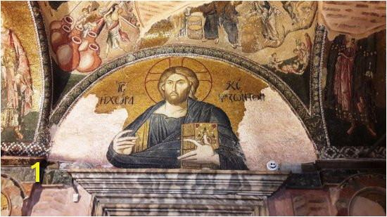 Kariye Museum The Chora Church mosaico di Cristo su una lunetta