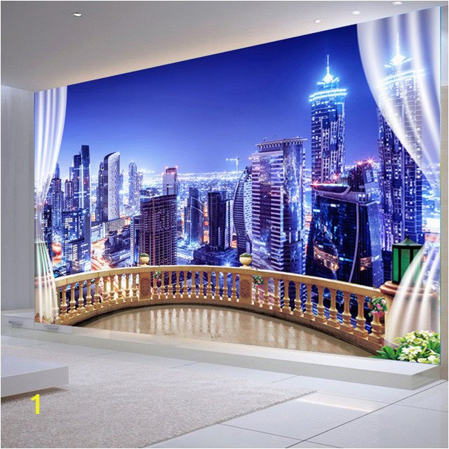 3D Wallpaper City Building Night Landscape Wall Mural Living Room Bedroom Cafe Background Wall Papers Papel De Parede Sala