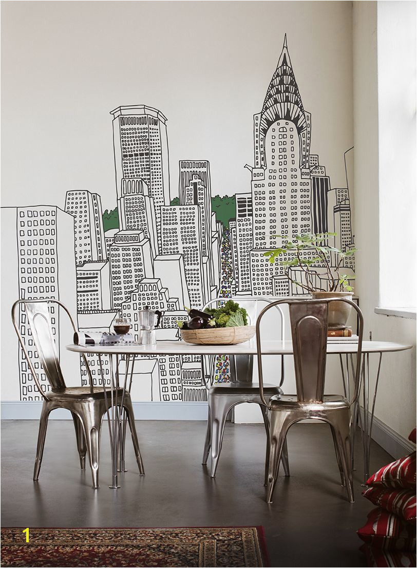Maybe you could paint this city skyline on the wall with a Sharpie